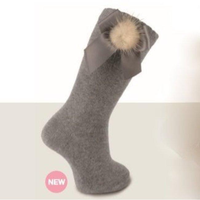 CARLOMAGNO - Socks Grey Satin Bow Knee Socks Pom Pom