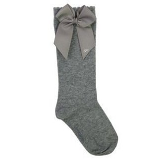CARLOMAGNO - Socks Knee Socks Satin Bow Grey