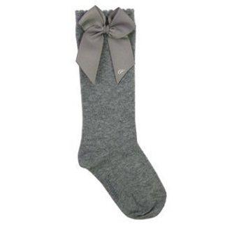 CARLOMAGNO - Socks Kniekous Satijnen Strik Grijs