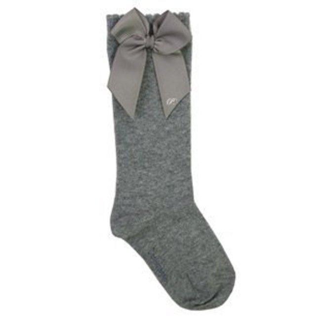 CARLOMAGNO - Socks Knee Socks Satin Bow Grey
