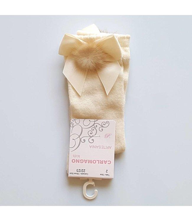 CARLOMAGNO - Socks Satin Bow Knee Socks Ivory Pom Pom