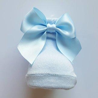 CARLOMAGNO - Socks Newborn Satin Bow Ankle Socks Sky blue