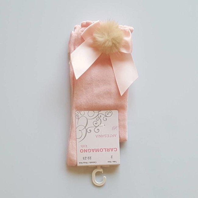 CARLOMAGNO - Socks Pink Satin Bow Knee Socks Pom Pom