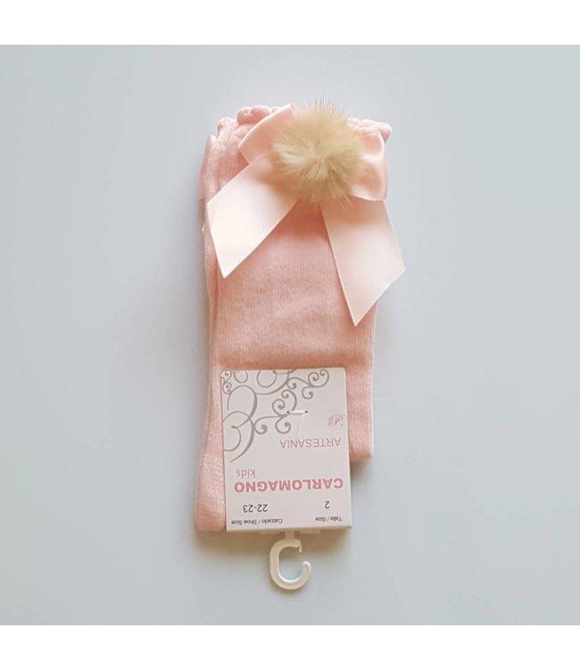 CARLOMAGNO - Socks Satin Bow Knee Socks Pink Pom Pom