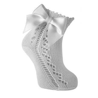 CARLOMAGNO - Socks Enkelkous Met Strik Wit