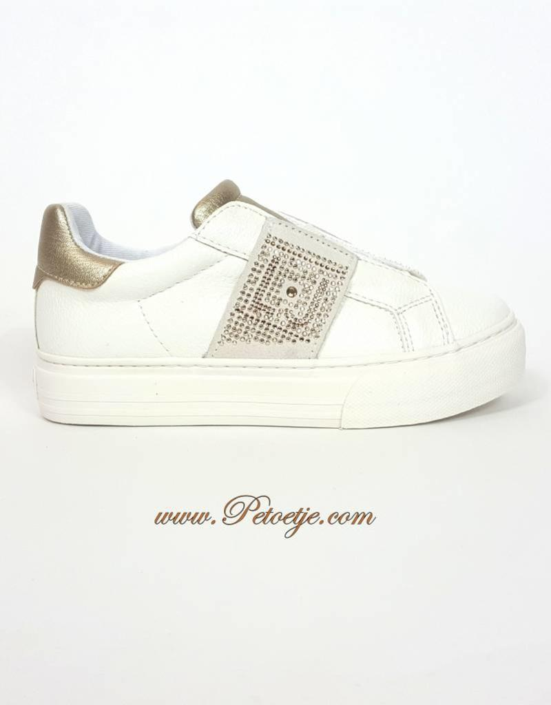 7732c3667d0 Girls White Sneaker Gold - Petoetje