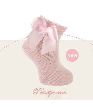 CARLOMAGNO - Socks Enkelkous Roze met Satijnen Strik Parel