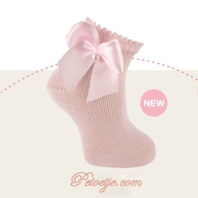 CARLOMAGNO - Socks Ankle Socks Pink with Satin Bow Pearl