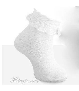 CARLOMAGNO - Socks Enkelkous Wit met Kant