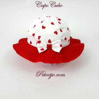 CAPOCUBO Wit Rode Meisjes Hoed Hartjes
