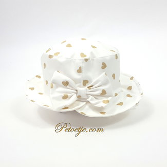 CAPOCUBO White Sun Hat with Golden heart & Bow