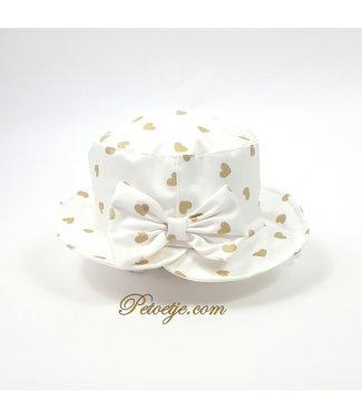 CAPOCUBO Witte Zonnenhoed met Gouden hart & Strik