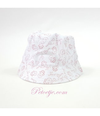 CAPOCUBO Newborn White Sun Hat - Pink Pacifier