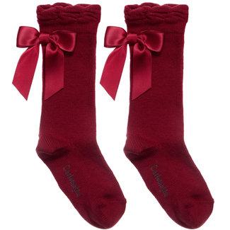 CARLOMAGNO - Socks Satin Bow Knee High Dark Red Guinda