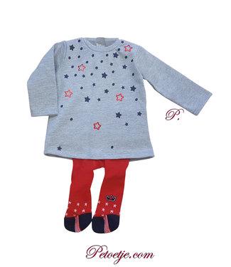 LOSAN Baby Meisjes Grey Dress Set Stars