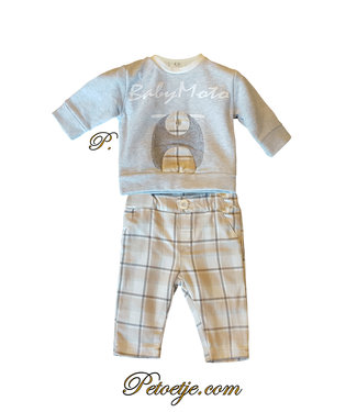 EMC Baby Boys Beige Flanel Trousers Set