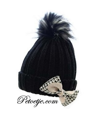 CAPOCUBO Girls Black Wool Hat Pom Bow