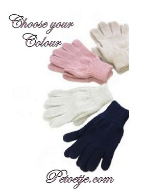 CAPOCUBO Girls Wool Gloves Pink - Grey - Blue