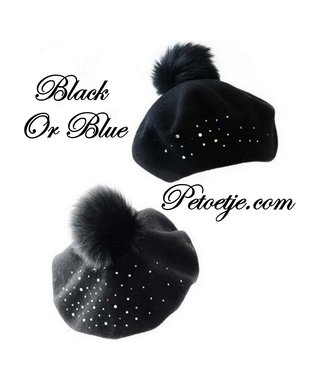 CAPOCUBO Girls Wool Pom-Pom Beret Strass
