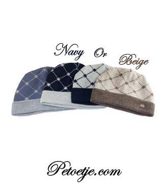 CAPOCUBO Boys Wool Blend Hat - Beige or Navy Blue