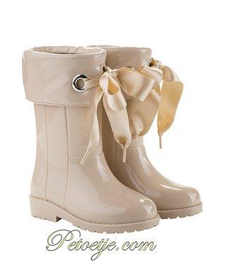 IGOR  Campera Charol Beige Ribbon Rain Boots