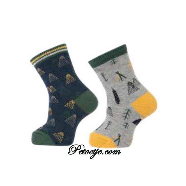 CARLOMAGNO - Socks Blue & Grey Fantasy Cotton Socks - 2 Pack