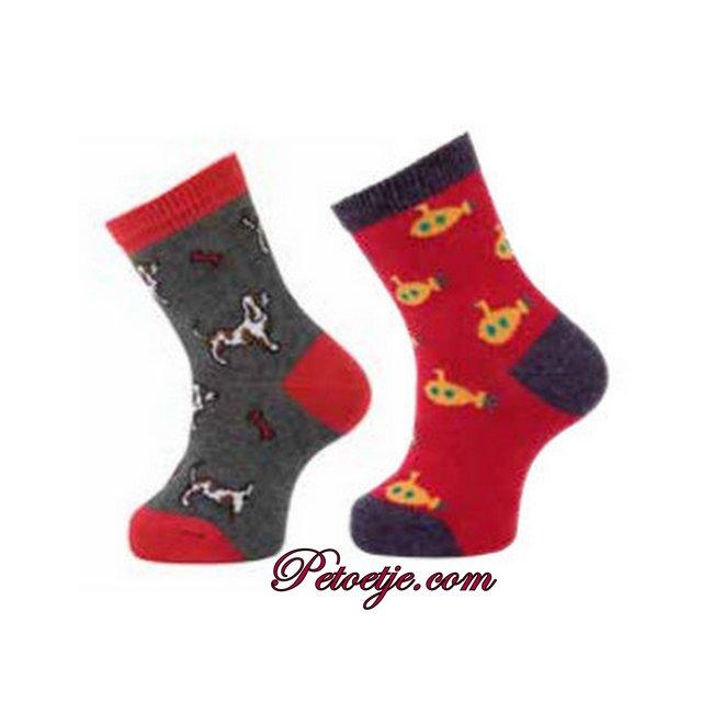 CARLOMAGNO - Socks Grey & Red Fantasy Cotton Socks - 2 Pack