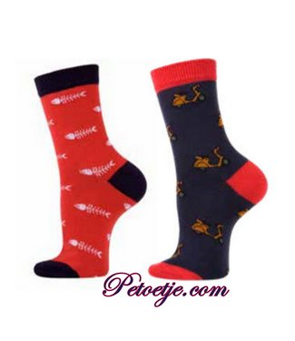 CARLOMAGNO - Socks Rood & Blauwe Fantasie Kousen