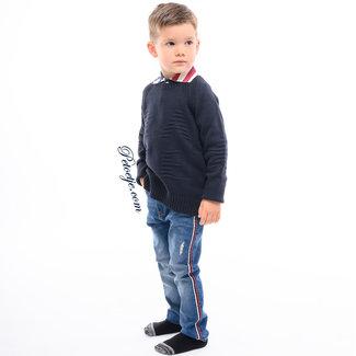 EMC Jongens Blauwe Katoen Wol Sweater
