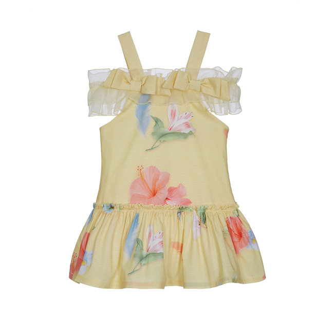 LAPIN HOUSE Girls Yellow Floral Shoulder Dress