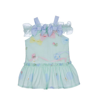 LAPIN HOUSE Jersey Mint Green Floral  Dress
