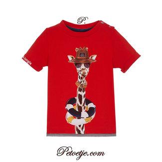 LAPIN HOUSE Jongens Oranje-Rode T-shirt Giraf