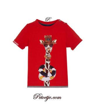 LAPIN HOUSE Boys Orange-Red Jersey Top Giraffe