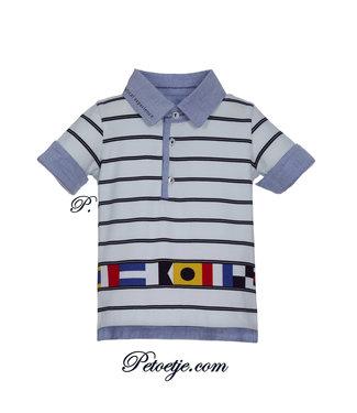 LAPIN HOUSE Boys White Striped Cotton Polo