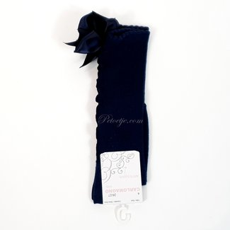 CARLOMAGNO - Socks Marine Blauwe Kniekous Satijnen Strik