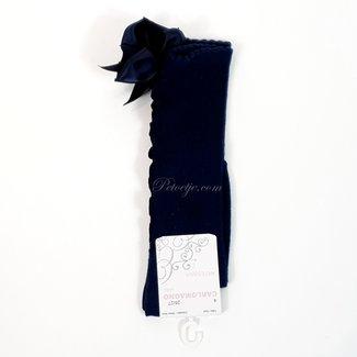 CARLOMAGNO - Socks Satin Bow Knee High Navy Blue Ruffle
