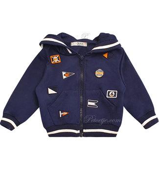 DR. KID Navy Blue Hooded Zip Up Top