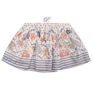 DR. KID White Skirt - Blue Dots