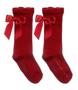 CARLOMAGNO - Socks Rode Kniekous Satijnen Strik