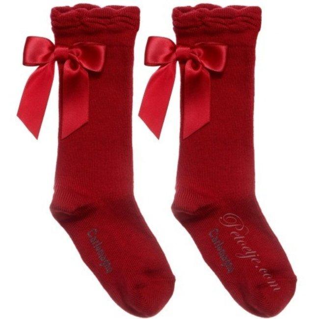 CARLOMAGNO - Socks Red Satin Bow Knee Socks - bow on the back