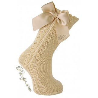 CARLOMAGNO - Socks Beige Openwork Satin Bow Knee High