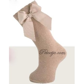 CARLOMAGNO - Socks Camel Knee Socks Satin Bow