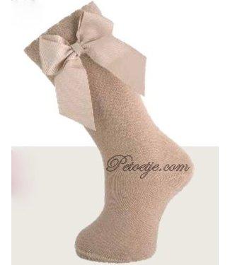 CARLOMAGNO - Socks Camel Knee Socks Satin Bow