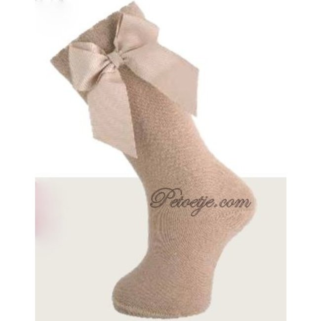 CARLOMAGNO - Socks Knee High Socks Satin Bow Camel