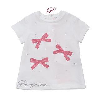 MISS BLUMARINE  Meisjes Witte T-Shirt - Strikjes