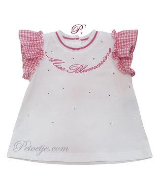 MISS BLUMARINE  Girls White Top - Pink Vichy Sleeve