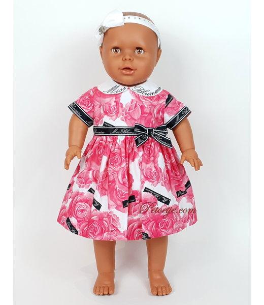 Girls Pink Floral Cotton Dress - Roses