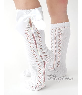 CARLOMAGNO - Socks Witte Kniekous Satijnen Strik - Geperforeerde Look