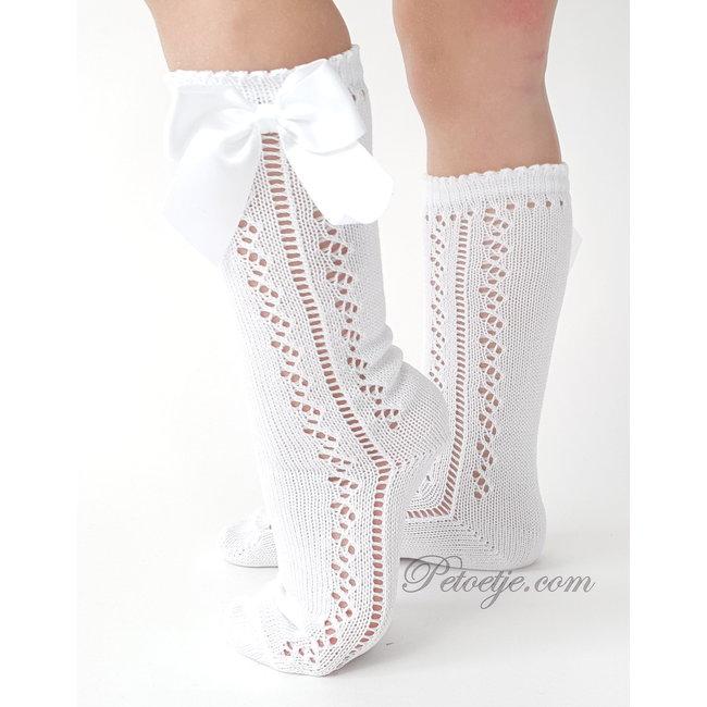 CARLOMAGNO - Socks White Openwork Satin Bow Knee High Socks