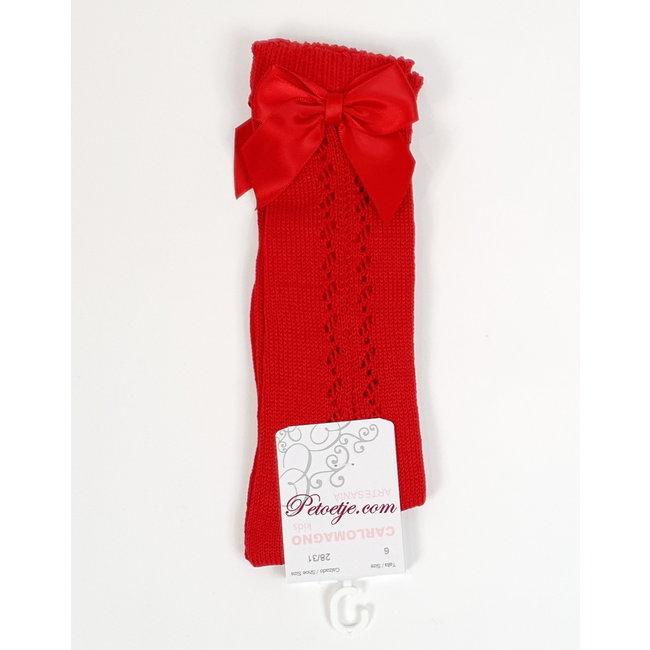 CARLOMAGNO - Socks Red Openwork Satin Bow Knee High Socks